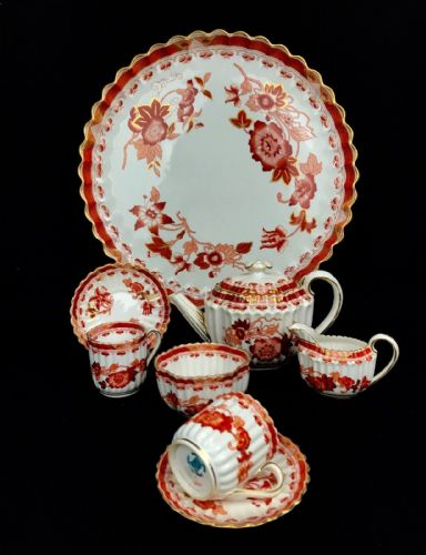 Copeland Spode Cabaret tea for two / Orange And White / Tea Pot / Indian Tree